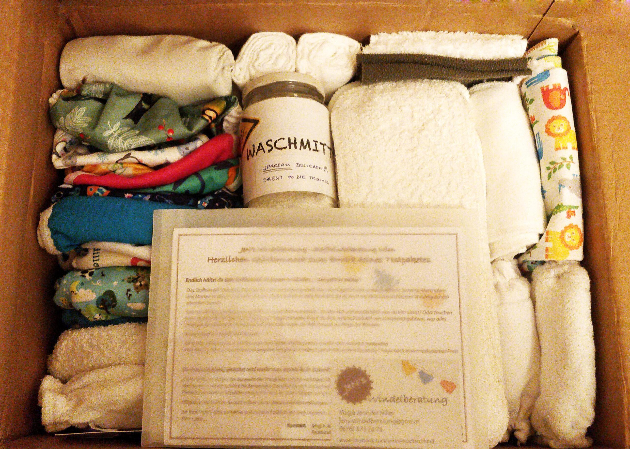 Stoffwindeltestpaket mit Beschreibung und Waschmittel